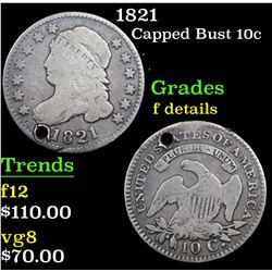 1821 Capped Bust Dime 10c Grades f details