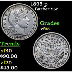 1895-p Barber Quarter 25c Grades vf++
