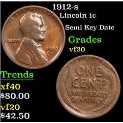 1912-s Lincoln Cent 1c Grades vf++