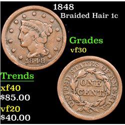 1848 Braided Hair Large Cent 1c Grades vf++