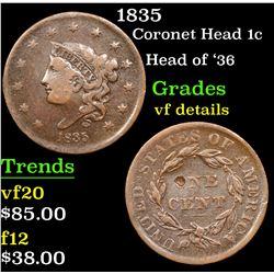 1835 Coronet Head Large Cent 1c Grades vf details