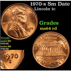 1970-s Sm Date Lincoln Cent 1c Grades Choice Unc RD