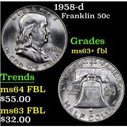 1958-d Franklin Half Dollar 50c Grades Select Unc+ FBL