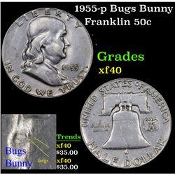 1955-p Bugs Bunny Franklin Half Dollar 50c Grades xf