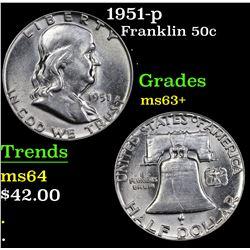1951-p Franklin Half Dollar 50c Grades Select+ Unc