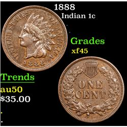 1888 Indian Cent 1c Grades xf+