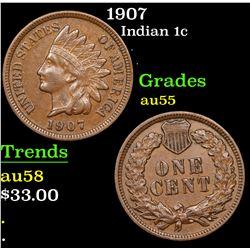1907 Indian Cent 1c Grades Choice AU