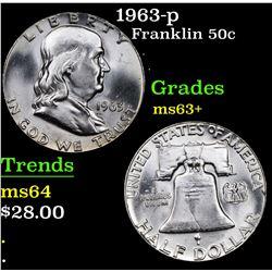 1963-p Franklin Half Dollar 50c Grades Select+ Unc