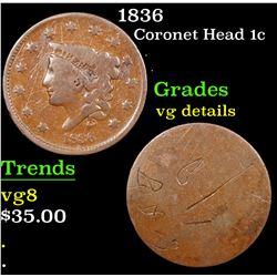 1836 Coronet Head Large Cent 1c Grades vg details