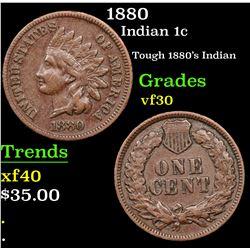 1880 Indian Cent 1c Grades vf++