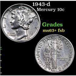 1943-d Mercury Dime 10c Grades Select Unc+ FSB