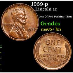 1939-p Lincoln Cent 1c Grades GEM+ Unc BN