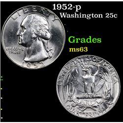 1952-p Washington Quarter 25c Grades Select Unc