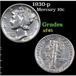 1930-p Mercury Dime 10c Grades xf+