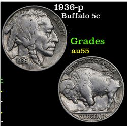 1936-p Buffalo Nickel 5c Grades Choice AU