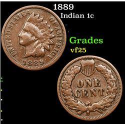 1889 Indian Cent 1c Grades vf+
