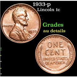 1933-p Lincoln Cent 1c Grades AU Details