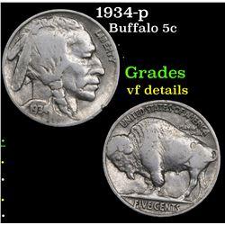 1934-p Buffalo Nickel 5c Grades vf details