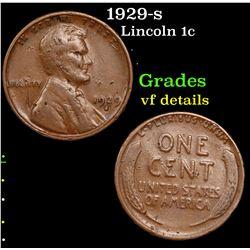 1929-s Lincoln Cent 1c Grades vf details