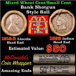 Mixed small cents 1c McDonald's wrapper shotgun roll, 1918-d Wheat Cent, 1899 Indian Cent other end