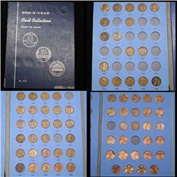 Partial Lincoln cent book 1909-1993 72 coins .