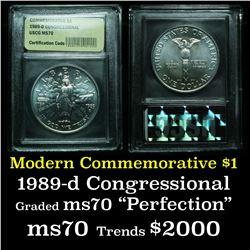 1989-d Congress Modern Commem Dollar $1 Graded ms70, Perfection by USCG