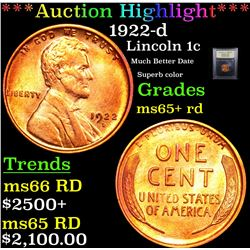 ***Auction Highlight*** 1922-d Lincoln Cent 1c Graded Gem+ Unc RD By USCG (fc)