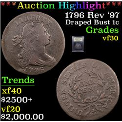 ***Auction Highlight*** 1796 Rev '97 Draped Bust Large Cent 1c Graded vf++ By USCG (fc)