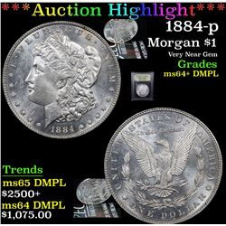 ***Auction Highlight*** 1884-p Morgan Dollar $1 Graded Choice Unc+ DMPL By USCG (fc)