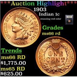 ***Auction Highlight*** 1903 Indian Cent 1c Graded GEM+ Unc RD By USCG (fc)