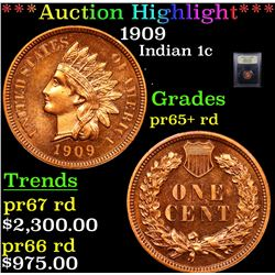 ***Auction Highlight*** 1909 Indian Cent 1c Graded Gem++ Proof Red By USCG (fc)