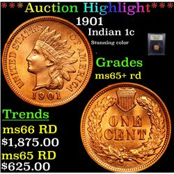 ***Auction Highlight*** 1901 Indian Cent 1c Graded Gem+ Unc RD By USCG (fc)