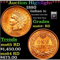 ***Auction Highlight*** 1880 Indian Cent 1c Graded Choice+ Unc RD By USCG (fc)