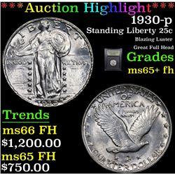 ***Auction Highlight*** 1930-p Standing Liberty Quarter 25c Graded GEM+ FH By USCG (fc)