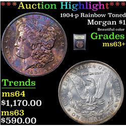 ***Auction Highlight*** 1904-p Rainbow Toned Morgan Dollar $1 Graded Select+ Unc By USCG (fc)