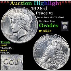 ***Auction Highlight*** 1926-d Peace Dollar $1 Graded Choice+ Unc By USCG (fc)