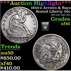 ***Auction Highlight*** 1853-o Arrows & Rays Seated Half Dollar 50c Graded xf+ By USCG (fc)
