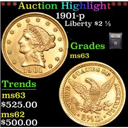 ***Auction Highlight*** 1901-p Gold Liberty Quarter Eagle $2 1/2 Graded Select Unc By USCG (fc)