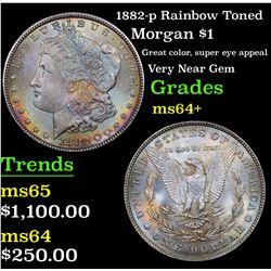 1882-p Rainbow Toned Morgan Dollar $1 Grades Choice+ Unc