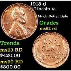 1918-d Lincoln Cent 1c Grades Select Unc RD