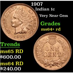 1907 Indian Cent 1c Grades Choice+ Unc RD