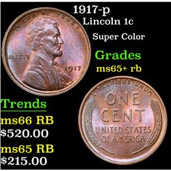 1917-p Lincoln Cent 1c Grades Gem+ Unc RB