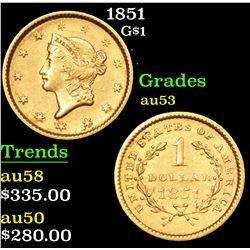 1851 Gold Dollar $1 Grades Select AU