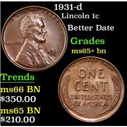 1931-d Lincoln Cent 1c Grades GEM+ Unc BN