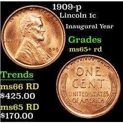 1909-p Lincoln Cent 1c Grades Gem+ Unc RD