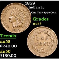 1859 Indian Cent 1c Grades Select AU