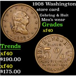 1908 Washington Store card 0.05 Grades xf