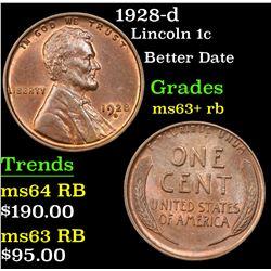1928-d Lincoln Cent 1c Grades Select+ Unc RB