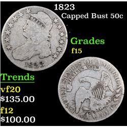 1823 Capped Bust Half Dollar 50c Grades f+