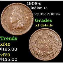 1908-s Indian Cent 1c Grades xf details